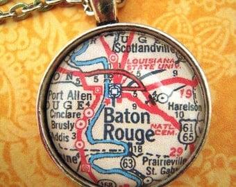 Custom Map Jewelry, Baton Rouge Louisiana State University Vintage Map Pendant Necklace, Personalize Map Jewelry, Map Cuff Links, Gift Ideas
