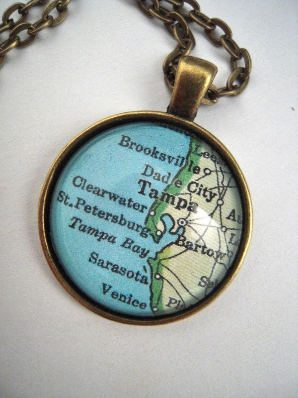 custom map jewelry tampa bay clearwater florida vintage map