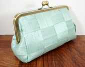 Mint green silk clutch purse, kisslock purse, woven clutch bag, Spearmint green clutch