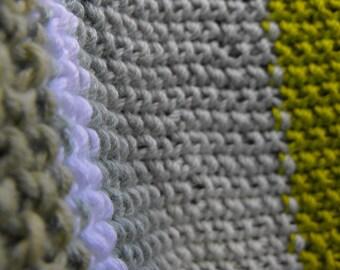 blanket - stripy cotton hand knitted blanket