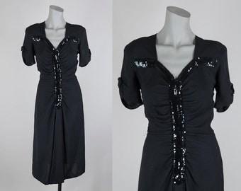 Vintage 40s Dress / 1940s Black Rayon Crepe Sequin Drape Dress S