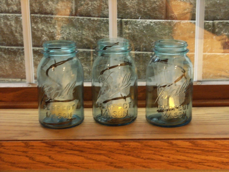 vintage blue mason jars with barbed wire. Black Bedroom Furniture Sets. Home Design Ideas