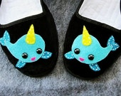 Narwhal Mary Jane Shoes Flats  (Ladies sizes 4, 5, 6, 7, 8, 9, 10, 11) Kawaii punk goth lolita anime animal