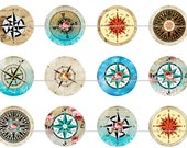 "1"" Inch Colorful Compasses Pins, Magnets, Flat Back Buttons, 12 Ct.,"