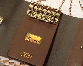 Vintage Amity Brown Key Holder -  Leather Key Case  -  14-1337