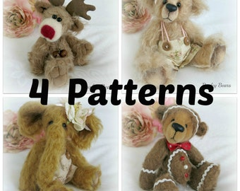4 Pattern Pack Instant Download - Bears, Elephant and Reindeer - Value Pack