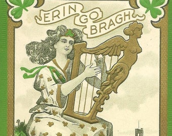 St. Patrick's Day Vintage Postcard Irish Colleen With Her Golden Harp and Shamrocks - Luck of the Irish