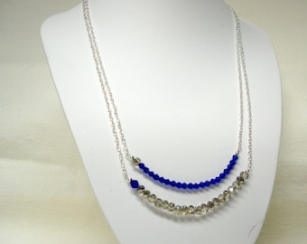Blue and Gray Multi Strand Crystal Necklace on Silver Chain