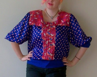 80s Rose and Blue Tulips and Leafs Flowy Elastic Waist Peasant Top M
