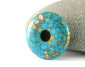 Turquoise Magnesite,  Stone Donut Bead, Turquoisel Pendant, Turquoise Donut Pendant, Magnestite Pendant, 1 Semiprecious Stone Pendant