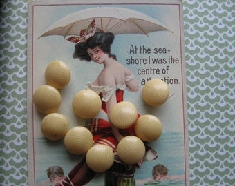 Vintage Celluloid Buttons....light as air....french ivory...1920....lot/10