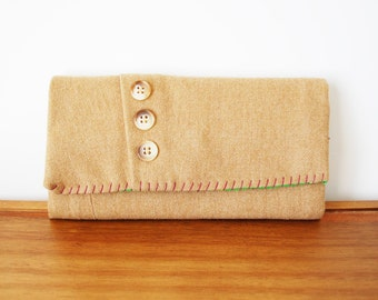Upcycled Tan Wool Trifold Clutch Wallet with Buttons