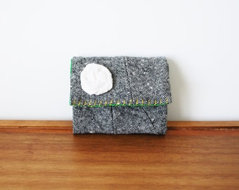 CLEARANCE--Grey Wool Trifold Business Card or Credit Card Holder with White Rosette
