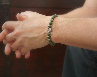 Men's Green Jasper Bali Bracelet, Bali Silver Bracelet, Green Stone Bracelet, Bohemian Bracelet, Bohemian Jewelry, Father's Day