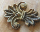 Old Finial - Ornate Dusty Applique - Rusty Stormy Patina - Assemblage Steampunk Mixed Media Supply