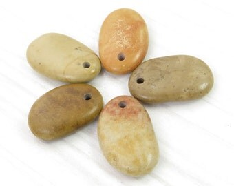 Beach Stones- Top Drilled Beach Stones - 5 pcs beads/ Organic Beads- Longish Big Beach Pebbles