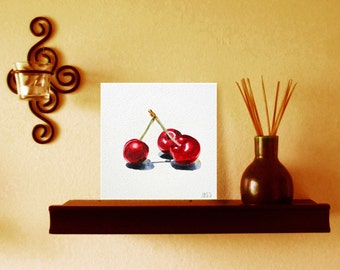 Cherries Original Art  Watercolor on Board Painting - 5 x 5 in - Free Gift Box and Easel - Ready Gift