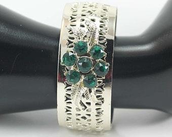 Vintage Emerald Rhinestone and Open Metal Work Bracelet