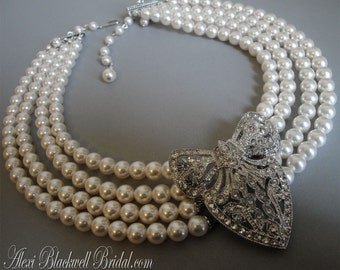 COMPLETE Set Pearl Necklace with Rhinestone Brooch Bracelet Hair Comb and Earrings 4 multi strands Swarovski Pearls