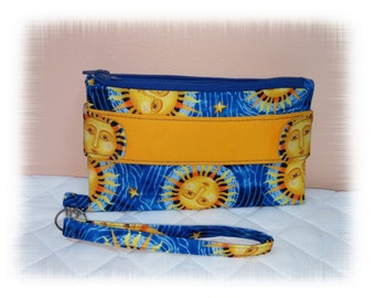 Celestial Wallet Clutch, Sun and Stars, Swoon Bag, Della, Wristlet, Key Ring, Blue, Yellow