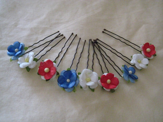 Red, White,Blue flower Hairpins x 9. Patriotic/Memorial. Nautical, 4th July, ACW