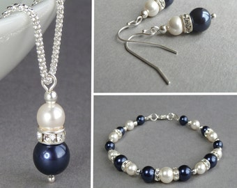 Navy Pearl Jewellery Set - Dark Blue Pearl and Crystal Jewelry - Navy and Ivory Pearl Necklace, Bracelet and Earrings - Wedding Jewellery