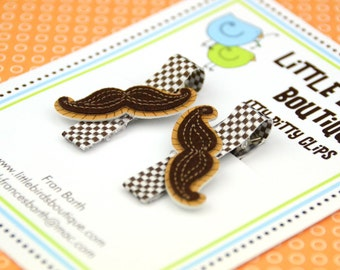Baby Toddler Hair Clip/Bow Set of 2 Brown Felt Mustache