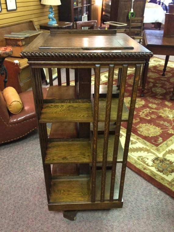 Antique Oak Revolving Bookcase Danner Ragtudio Etsy