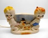 Vintage Alan Jay Clarolyte Lamp  Let Go Girl Dog Boy Lamp
