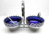 Vintage Blue Glass Cream and Sugar Set with Caddy