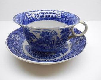 Antique Wilson  Cup and Saucer Tower Pattern Staffordshire Burslem England