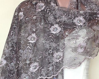 Lace Embroidery with Sequin Flowers Floral Scarf Shawl - Mauve Lavender