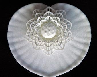 "3D Printed Filigree ""Grazie Arigato"" Lotus & Lilypad Flower Set"