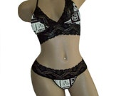 Sexy Los Angeles Kings NHL Lingerie Black Lace Cami Bralette Style Tie-Top and Matching G-String Panty Thong CUSTOM Sizing