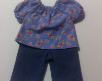 """Baby Alive  And Waldorf Doll Clothes Adorable Peasant Top and Blue Jeans 10"""" 12"""" Or 15"""""""