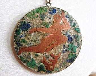 Vintage Mexican Sterling Silver Copper Stone Inlay Virgo Zodiac Necklace Pendant & Chain