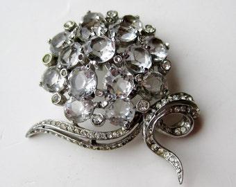 Vintage 40s Reja Ice Flower Rhodium Plate Crystal Rhinestone Brooch Pin