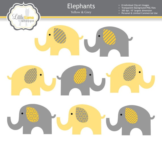 Yellow Amp Grey Elephant Clipart Yellow Gray By