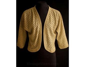 Medium 1950s Cocoa Knit Bolero - Size 10 - 50s Brown Cardigan Sweater - Open Front - Near Mint - Soft Acrylic Knit - Bust 36 - 35255
