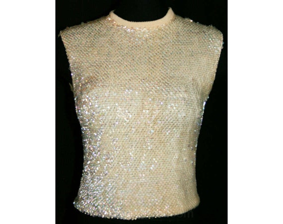 1960s cream fish scale sequins tank top size 3 to 4 for Fish scale shirt