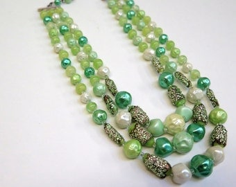 Choker Style Bead Necklace 3 Strand Bib Necklace Vintage 70s