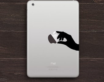 Holding an Apple, Hand Silhouette Vinyl iPad Decal BAS-0246