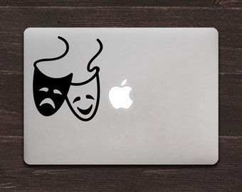 Comedy Tragedy Masks, Drama Vinyl MacBook Decal BAS-0304