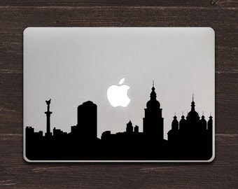 Kiev Skyline Silhouette Vinyl MacBook Decal BAS-0319