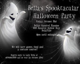 Halloween Party Invitation, Halloween Ghost Invitation
