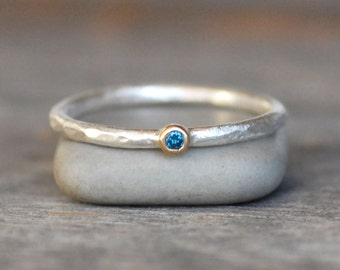 Tiny Blue Diamond Ring - Gold and Silver Stack Ring - 2mm Blue Diamond Stack Ring - Eco-Friendly Recycled