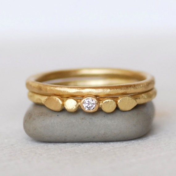 tiny petals gold ring set 2mm ring 18k or