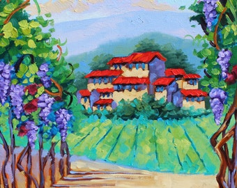 Original Oil Painting Artist Impressionism, Italian Grape Vines, Vineyards, Scenic Landscape