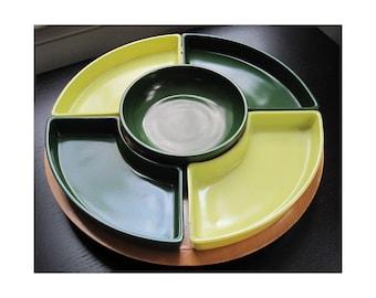 Hazel Atlas Ovide Chartreuse & Dark Green Glass and Wood Lazy Susan Modern