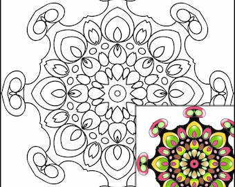 Coloring Pages for All Ages,  Download & Print, Digital Art,  Zendoodles,  10 Different 7-Inch Mandalas Kaleidoscopes,  COLOR 1